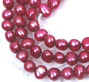 - 4x5mm Fuschia Genuine Freshwater Pearl Potato Beads 16