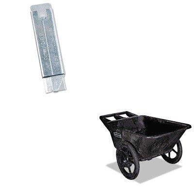 Rubbermaid Cart Wheel Big (KITCOS091460RCP5642BLA - Value Kit - Black 7.5 Cu. Ft. Big Wheel Cart (RCP5642BLA) and Retractable Jiffi Cutter Utility Knife (COS091460))