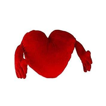 Eurowebb cojín peluche en forma de corazón rojo con dos ...