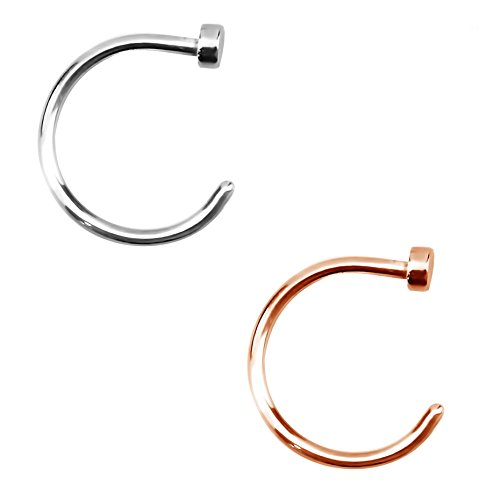 Nose Ring - Forbidden Body Jewelry 20g 8mm Silver & Rose Gold Tone Surgical Steel Perfect Basics Comfort Fit Nose Hoops (2pcs)