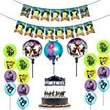 25 Pack Gaming Party Supplies Set,16 Latex Party Balloons and 3 Foil Balloons,Video Game birthday Banner decorations and Birthday Cake Topper for Kids Battle Royale Gamer Decorations]()