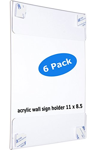 "Premium Acrylic Wall Mount Display Sign Holder with ADHESIVE Ad Frame 8.5"" x 11"" inches (6)"
