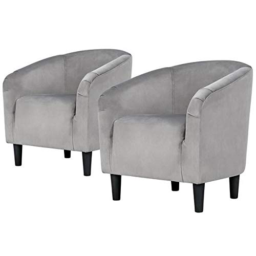 Yaheetech Velvet Accent Chair with Wood Legs – Accent Barrel Chair – Set of 2 – Gray