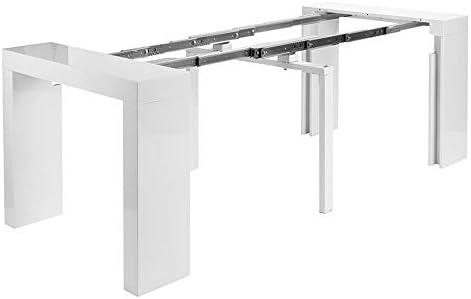 Consola mesa extensible hasta 3 metros, blanco brillante lacado ...
