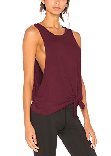 Bestisun Active Tanks for Women Casual Classic Color Block Comfortable Cool Dri Loose Fitting Muscle Lady Tank Top Racer Back Workout Clothes Wine Red M