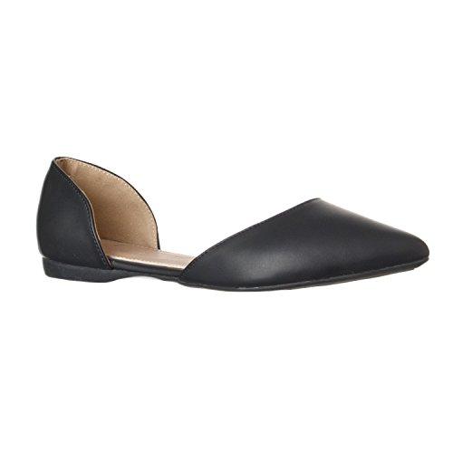 Riverberry Women's Riley Pointed Toe, D'Orsay Open Side Flat Shoe, Black PU, 6.5