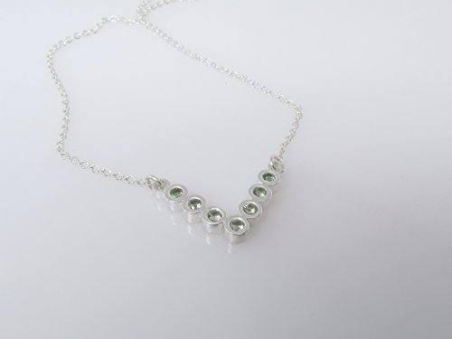 Green Sapphire Chevron Necklace In Sterling Silver - V Necklace With Soft Green Sapphire