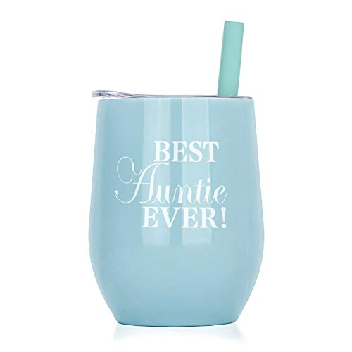 Stemless Wine Tumbler for Women, Stainless Steel Insulated Coffee Mug-12 Oz Auntie Fuel Wine Tumbler Sippy Cup for Adults as A Gift