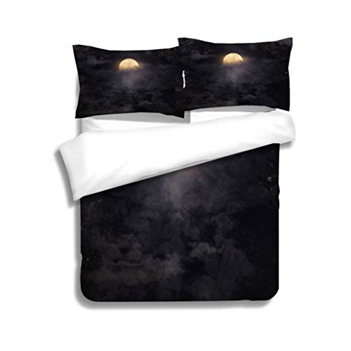 MTSJTliangwan Duvet Cover Set,Abstract Night Sky with Full Moon for Halloween background3 Piece Bedding Set with Pillow Shams, Queen/Full, Dark Orange White Teal Coral for $<!--$89.20-->