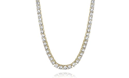 Cubic Zirconia Gold Plated Necklace (New Womens Magnificent 4mm Round Cubic Zirconia Tennis Necklace … (yellow-gold-plated-brass))