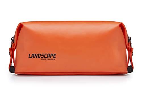 LAND5CAPE Waterproof Tarpaulin Dopp Kit, Toiletry Bag Organizer for Travel, Gym, Yoga, Camping, Hiking, Outdoors - Men, Women, Unisex (Orange)