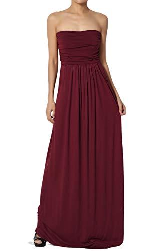 TheMogan Women's Strapless Draped Jersey Pocket Long Maxi Dress Dark Burgundy L