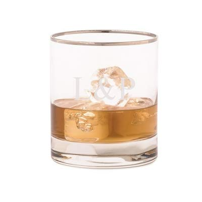 (Personalized Luigi Bormioli Platinum Rimmed Double Old Fashioned Glass with Engraving)
