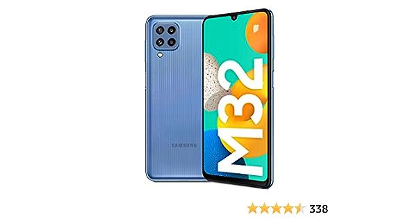 Samsung Smartphone Galaxy M32 con Pantalla Infinity-U FHD sAMOLED de 6,4 Pulgadas, 6 GB de RAM y 128 GB de Memoria Interna Ampliable, Batería de 5000 mAh y 25W Carga rápida Azul (ES Versión)