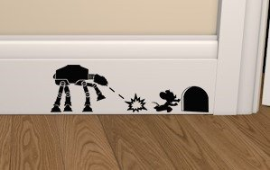 Epic Modz Star Wars ATAT Vs Mouse Skirting Board Vinyl Decal Sticker Wall  Art Bedroom Living