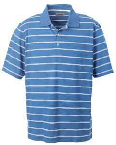 - Ashworth 2038C Men's High Twist Cotton Tech Stripe Polo-Short Sleeve Shirts-4XL-Absolute Blue/White