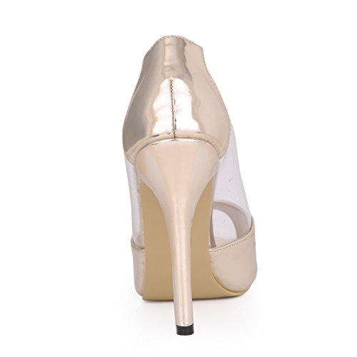 sens chaussures les talon poissons le les banquet chaussures Kim de de l'automne transparent femmes Gold Pale de Seul réformateur verre colle pointe light haut 5PqTRf