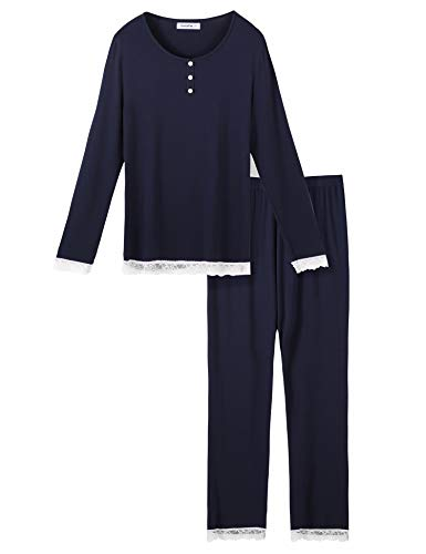 (Lusofie Pajamas for Women Long Sleeve Pajama Top Lace Trim Pants Pjs Sets Sleepwear (Navy, S))