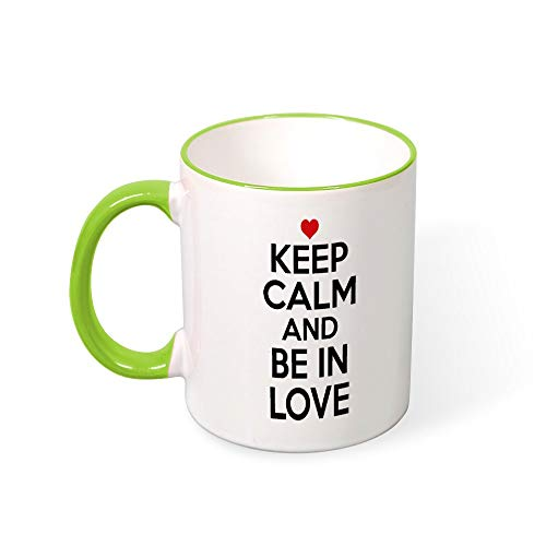 (DKISEE Keep Calm And Be In Love Color Coffee Mug Novelty 11oz Ceramic Mug Cup Birthday Christmas Anniversary Gag Gifts Idea - Light Green)