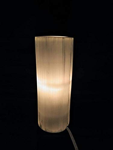 Flat Top Natural White Selenite Cylinder Lamp, Natural Healing Crystal, Cord and Bulb Included, Space Hamonizer, High Vibrations Healing Crystal (8 Inches)