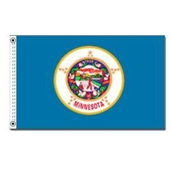 Minnesota 1957 State Indoor Outdoor Dyed Nylon Flag Grommets 2' X ()