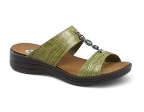 Dr.Comfort Women's Sharon Sandal Green Leather 9