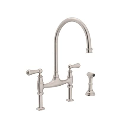 Rohl U.4719L-STN-2 Perrin and Rowe Deck Mount Bridge Kitchen Faucet ...