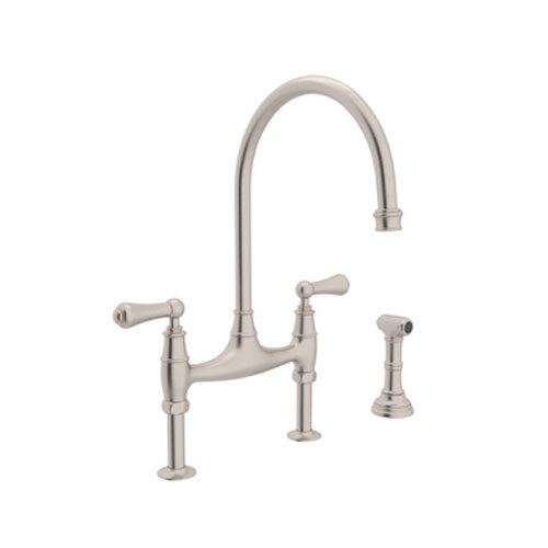 Rohl U.4719L STN 2 Perrin And Rowe Deck Mount Bridge Kitchen Faucet With  Sidespray With High C Spout And Metal ALSace Levers, Satin Nickel   Touch  On ...