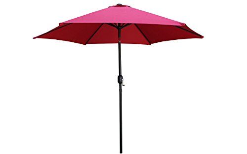 TMS Beach Umbrella Aluminum Outdoor 8ft Crank Tilt Sunshade Cover Patio Market Umbrella, Burgundy