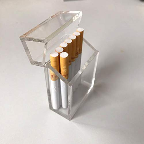 50 Pack High-end Clear Acrylic Cigarette Box with Solid Magnetic Flip Top Closure by Fulemay - Simple and Stylish Acrylic Cigarette Case for 100MM Cigarettes