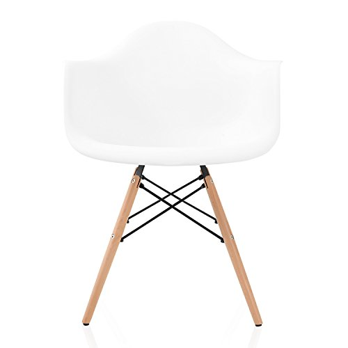 CozyBlock 4 Nordic Molded Plastic Dining Arm Chair with Beech Wood Eiffel Legs, Set of 2, 24.6 W x 24.25 D x 31 H, White, x x