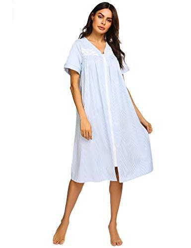 - Ekouaer Soft Women Nightgowns Short Sleeves Robes Zipper Front Victorian Nightgowns (Ydf1,Medium)
