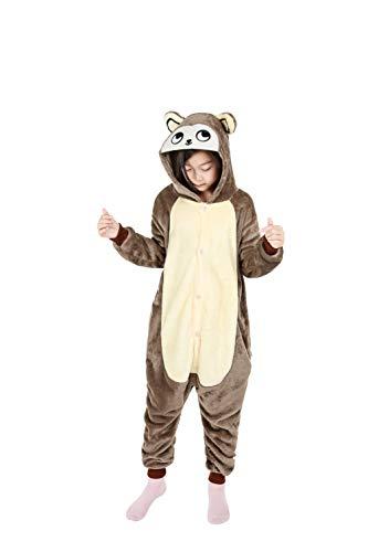 Unisex Kids Onesie Soft Flannel Pajamas Animal Costume Cosplay Halloween(125, Chipmunk)
