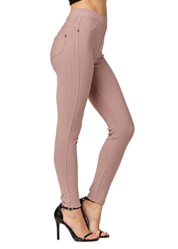 Premium Jeggings - Denim Leggings - Cotton Stretch Blend - Full Length Dusty Pink - X-Large/XX-Large