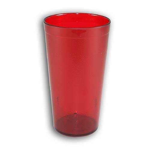 New, 16 oz. Restaurant Tumbler Beverage Cup, Stackable Cups, Break-Resistant Commmerical Plastic, Set of 6 - Ruby Red