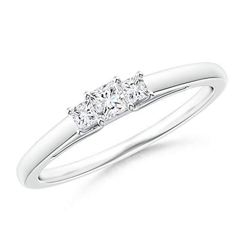 Princess-Cut Diamond Trellis Three Stone Ring in Platinum (2.7mm Diamond)