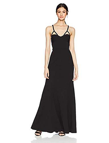 Vera Wang Junior's Long Spaghetti Strap Gown with Cutout Detail, Black, 2 from Vera Wang