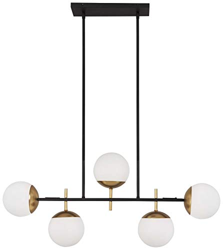 George Kovacs P1355-618 Alluria Chandelier, 5-Light 375 Total Watts, Weathered Black with Autumn Gold