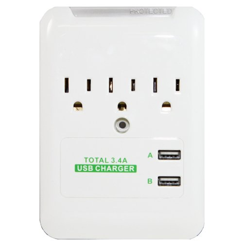 RND 3.4 Amp fast charging station with 3 AC outlets and 2 US