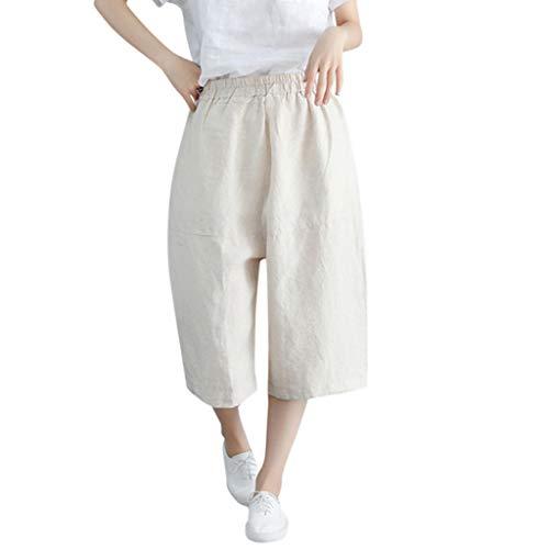 (FEDULK Womens Casual Cotton Linen Pants Solid Color Loose Wide Leg Calf-Length Comfy Pants(Beige, XXX-Large))