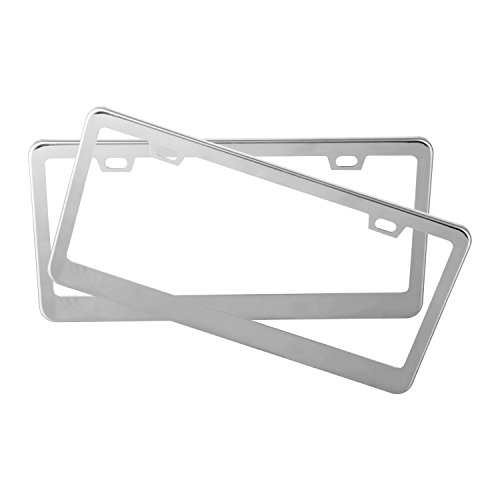 Eyourlife 2 Pcs License Plate Frame Stainless Steel 2 Hole Polish Mirror License Plate Cover With Chrome Screw Caps For US (Silver Chrome Girl)