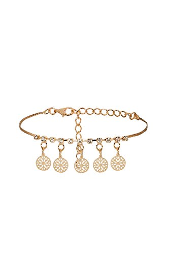 Ancient Egyptian Dancers' Costumes (Anklet Feet Round Snowflakes Hollow Disks Charm Bracelet Golden Women Jewelry (Golden))