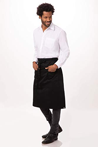 Chef Works Unisex Reversible Three Pocket Apron, Black