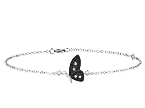 Libertini bracelet argent 925 femme serti de Diamant en forme de Papillon