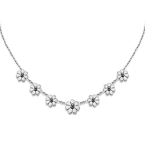 Zhang Trading Co., Ltd. 18K Gold-Plated Stainless Steel Necklace with 7 Small Daisy Flower (Steel-Tone)