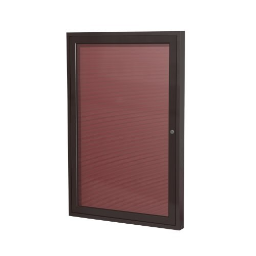 Ghent 36'' x 24'' 1 Door Outdoor Enclosed Vinyl Letter Board, Burgundy, Bronze Aluminum Frame (PB13624BX-BG) by Ghent