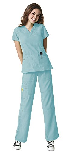 WonderWink Four-Stretch Women's Medical Uniforms Scrub Set Bundle- 6214 Sporty V-Neck Top & 5214 Elastic Waist Cargo Pant & MS Badge Reel (Aruba Blue - Small/Small) -
