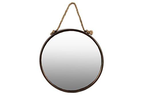 Urban Trends Metal Round Wall Mirror with Rope Hanger, Tarnished - Bronze Mirror Round