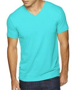 Express Apparel Mens Wholesale - Next Level Apparel 6440 Mens Premium Fitted Sueded V-Neck Tee - Tahiti Blue, Medium