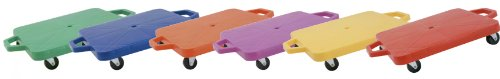 Champion Sports 12-Inch Multi-Colored Heavy Duty Plastic Scooter Boards with Handles (Set of 6) by Champion Sports